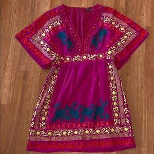 Nanette Lepore  | Fuchsia Silk Embroidered Dress
